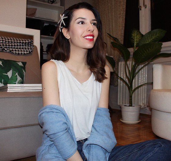 Jelena - Terranova White T Shirt, H&M Blue Cardigan, Asos Tiny Silver Earrings - Hair clips to wear right now
