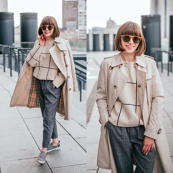 Christina & Karina Vartanovy - Burberry Beige Trench Coat, Chic Wish Grid Round Neck Sweater, Zaful Grey Checked Tapered Pants, Asos Grey Woolen Plimsolls - Christina // someone special