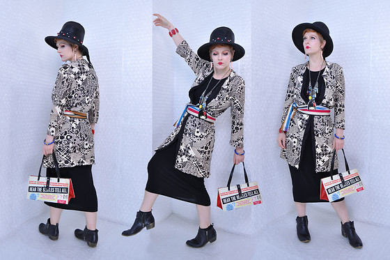 Suzi West - Chesterfield Original 1960s Hat, Suzi West Model Barbie Arm Earrings, Sharla Tv Charm Necklace, House Of Pale 1960s Psychedelic Jacket, Thrift Store Vintage Belt, Estate Sale Vintage Bracelets, Mugwump Upcycled Beatles Record Purse, Boohoo Basic Little Black Dress, Dunes Ankle Boots - 30 May 2018