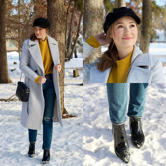 Taylor Doucette - Club Monaco Grey Wool Coat, H&M Mustard Yellow Sweater, Kendall And Kylie Patent Boots, Brixton Fiddler Hat - Hand Me Downs - Arkells
