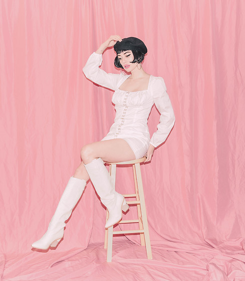 Amy Roiland - Fashion Nova Dress - White on Pink