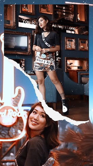 Aiiness .com - Bershka Choker Top, Indyanna Patches Skirt, Current Mood The Opposite Boots - Shooked me all night long