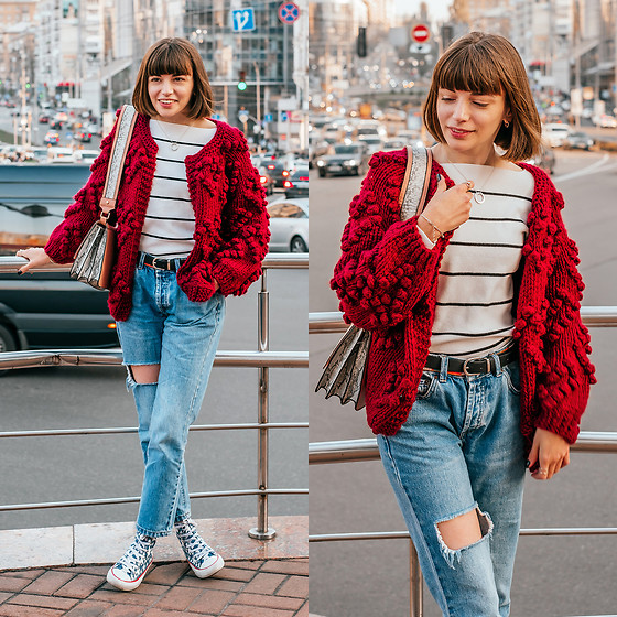 Christina & Karina Vartanovy - Chic Wish Knit Cardigan In Wine, Shein Neck Striped White Sweater, Asos Shoulder Bag With Wide Snake Detail, Pull & Bear Blue Ripped Boyfriend Jeans, Converse Chuck Taylor High Top Sneaker With Stars - Christina // something just like this