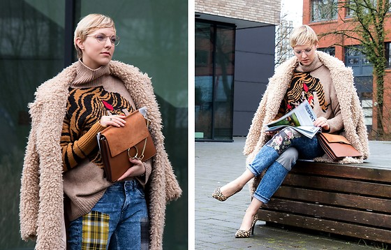 Sabine K - H&M Teddy Coat, Wtf Shop Leather Handbag, Bcb Generation Leopard Heels - Patchworking hard