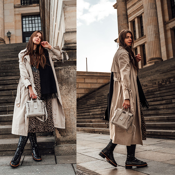 Jacky - Jake*S Trench Coat, Loavies Midi Dress, Santoni Boots, Phillip Lim Bag, Acne Scarf - How I style a midi dress with knee-high boots in winter