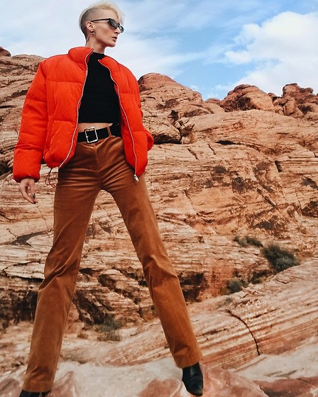 Jessica Hayes - H&M Corduroy Pants, H&M Puffer Coat, Forever 21 Belt - Cords and Red Rocks