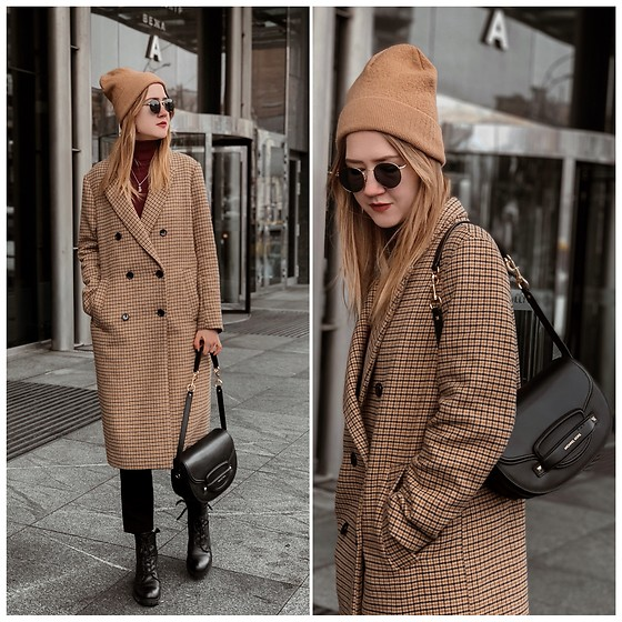 Nastia Poberezhna - H&M Beige Check Coat, Michael Kors Saddle Bag, &Other Stories Beige Beanie - Beige Check Coat & Saddle Bag