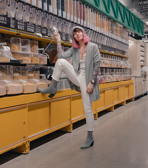 Jessie Bee - Amazon Striped Knit Cardigan, Target White Snap Placket Tank Top, Dsw Milkway Boot, J. Crew Pom Beanie, Cheap Monday White Denim - Against the Grain