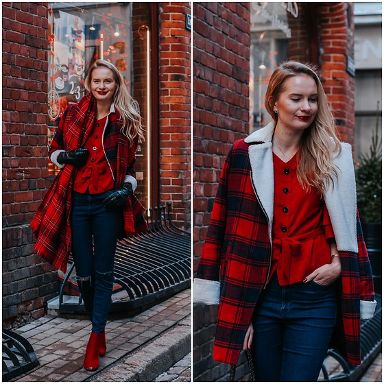 Madara L - Shein Red Blouse, Forever 21 Blue Jeans, Stradivarius Red Boots - Casual Valentine's day look