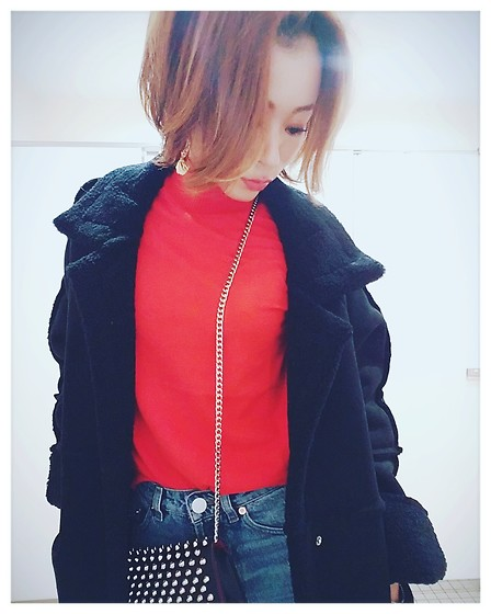 Chii - Antie Rosa Coat, Asos Jeans, New Look Knit - Orange×red