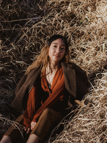 Gabby Chia - Dynamite Cardigan Top, Oak And Fort Trousers, Oak And Fort Corduroy Coat - Sun and Snow