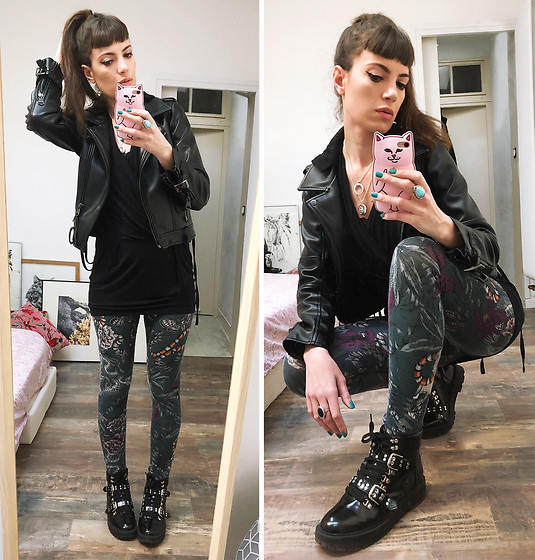 ♡Nelly Kitty♡ - Killstar Vegan Leather Hooded Biker Jacket, United Colors Of Benetton Black Wrapped Mini Dress, H&M Printed Leggings, Asos Studded Combat Anckle Boots - OOTD#63