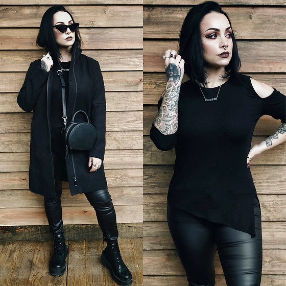 Priska Gomez - Realeyez Black Sunglasses, Asos Black Long Coat, Stra Black Round Bag, Pull & Bear Black Platform Boots, Shop One Black Assymetrical Top, Shop One Black Faux Leather Pants - Blood Hunter