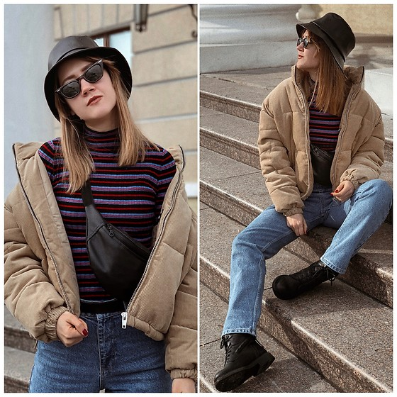 Nastia Poberezhna - Stradivarius Panama Hat, Bershka Beige Puffer Jacket, Reserved Blue Jeans - Outfit with a Panama Hat