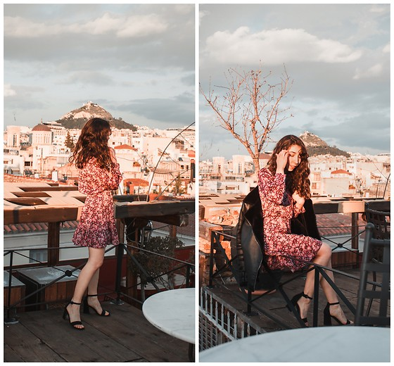 Theoni Argyropoulou - Zara Floral Dress, Bershka Sandals, Missguided Aviator Jacket - Valentine's Day Lookbook on somethingvogue.com