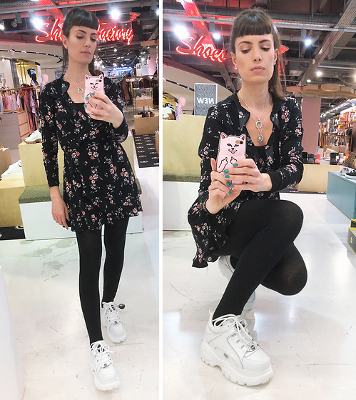 ♡Nelly Kitty♡ - Buffalo White Platform Sneakers, H&M Floral Wrap Dress - OOTD#64