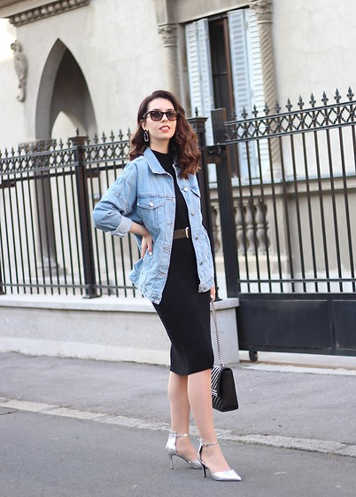 Jelena - Zara Oversized Denim Jacket, Asos Black Leather Belt, New Look Silver Heels, Zaful Retro Earrings, Ray Ban Wayfarer Sunglasses - 80s dresses and other stories