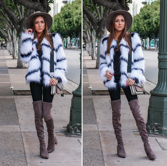 Jenny M - Forever 21 Faux Fur Jacket, Aldo Over The Knee Boots, Botkier Crossbody Bag, Urban Outfitters Felt Rancher Hat - FUR BABY // thehungarianbrunette.com