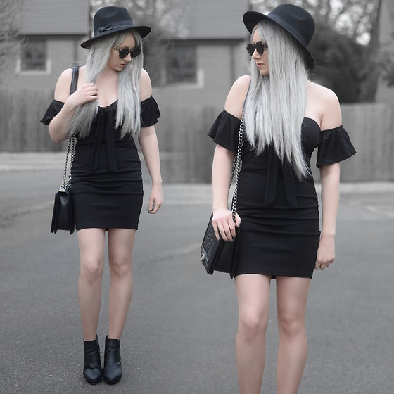 Sammi Jackson - Primark Black Fedora, Zaful Sunglasses, Everything5pounds Bardot Dress, Oasap Quilted Flap Bag, Office Chunky Ankle Boots - BLACK DRESS