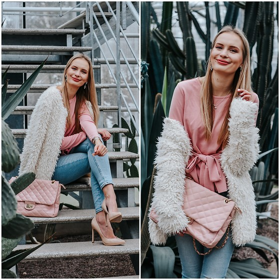 Madara L - New Yorker Faux Fur Coat, Shein Pink Top, Forever 21 Blue Denim Jeans - Feminine spring