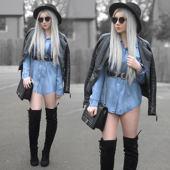 Sammi Jackson - Primark Black Fedora, Zaful Sunglasses, Shein Biker Jacket, Everything 5 Pounds Denim Shirt, Asos Double Buckled Belt, Oasap Quilted Flap Bag, Boohoo Thigh High Boots - DENIM SHIRT