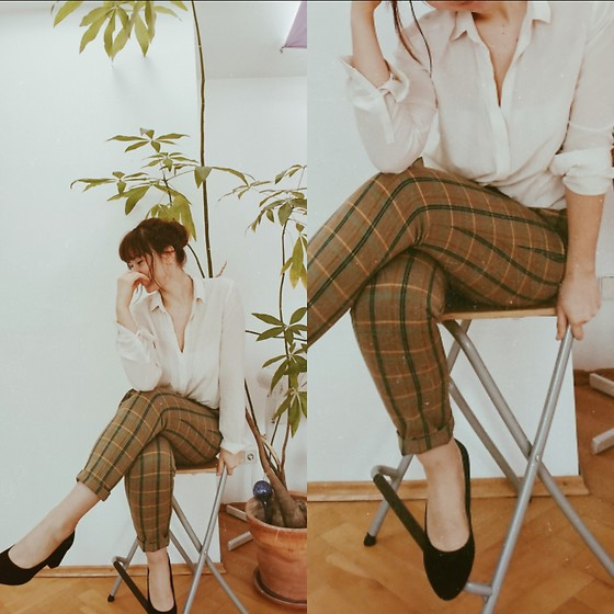 Polly Alba - Anna Field Shoes, & Other Stories White Shirt, United Colors Of Benetton Pants - Plant Lady