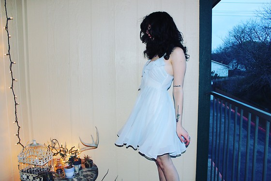 "Michelle Blue - Guess Striped Chiffon Dress - ""Sweet Music Playing In The Dark"""