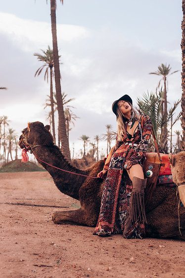 Louise Xin - Kiss The Sky Jumpsuit, River Island Over The Knee Boots - Sahara desert