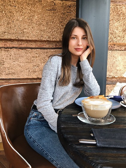Anna Gurchenkova - Gap Grey Sweater, Bershka Blue Jeans - Coffee time