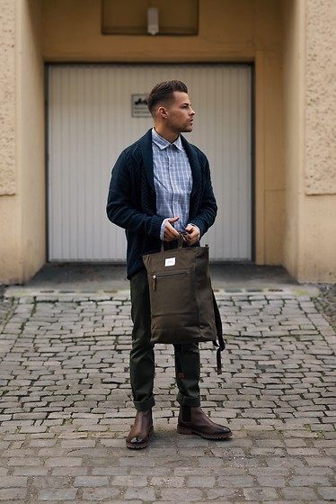 Kevin Elezaj - Sandro Boots, Scotch & Soda Pants, Gap Shirt, Topman Cardigan, Sandqvist Bag - Spring-ready