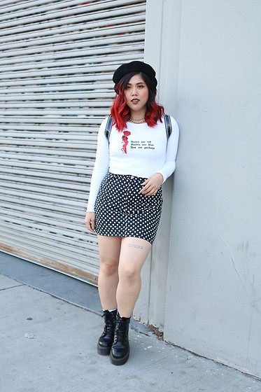 Yuka I. - Top, Skirt, Dr Martens Boots, Hat - Roses are red