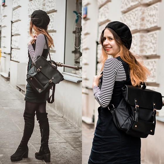 Ola Brzeska - Brytyjka.Pl Vintage Backpack, Carrefour Beret, Striped Blouse, Altercore High Boots - Spring look