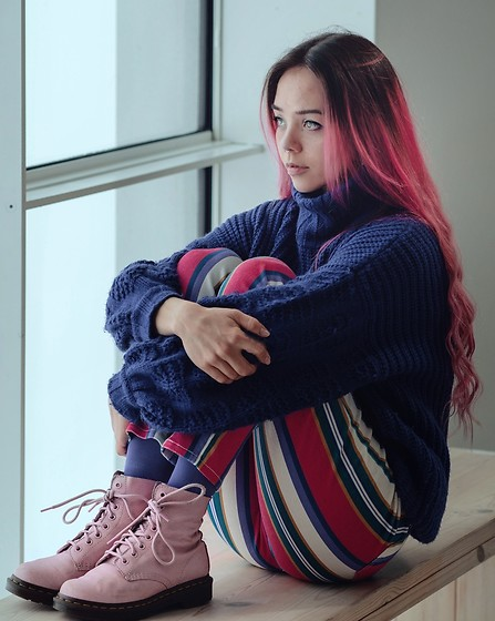 Nansy Glass - Dr. Martens Pink Boots, Dolls Kill Striped Pants, Lost Ink Purple Sweater, Weekday Purple Tights - Looking into my bright future