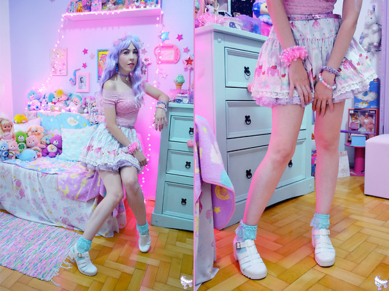 Luly Pastel Cubes - Follow The White Rabbit Skirt, Petit Jolie Jelly - Sweet neon