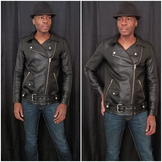 Thomas G - Faded Glory Fedora, Forever 21 Faux Leather Motorcycle Jacket, Levi's 511 Strauss & Co - Faux Leather Moto Jacket