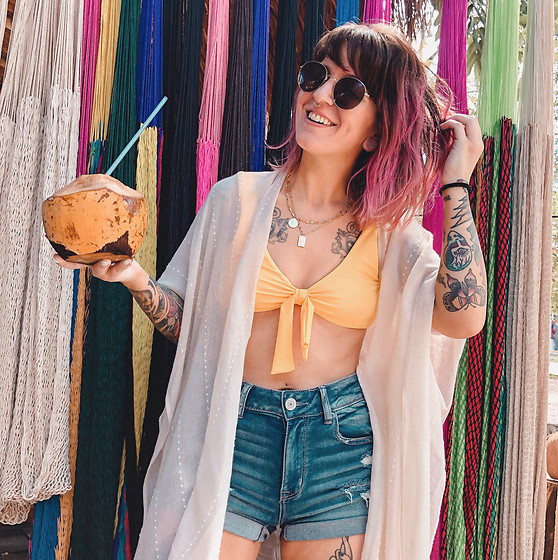 Jessie Bee - Francesca's Coverup, Amazon Yellow Bikini, American Eagle Outfitters High Rise Shorts, Madewell Fest Aviators, Ettika Necklaces - Coco Loco