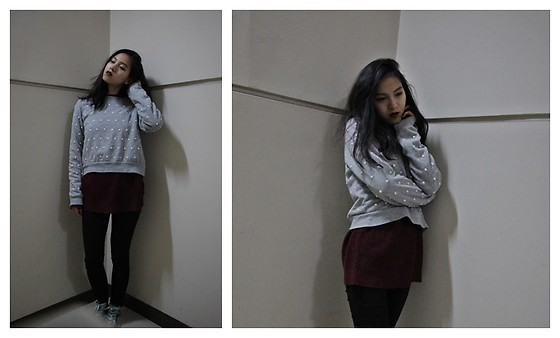 Tram Anh - Forever 21 Pearl Sweater, Asos Knit Jumper, Earth Music Ecology Skinny Jeans, Converse Sneakers - Messy opulence