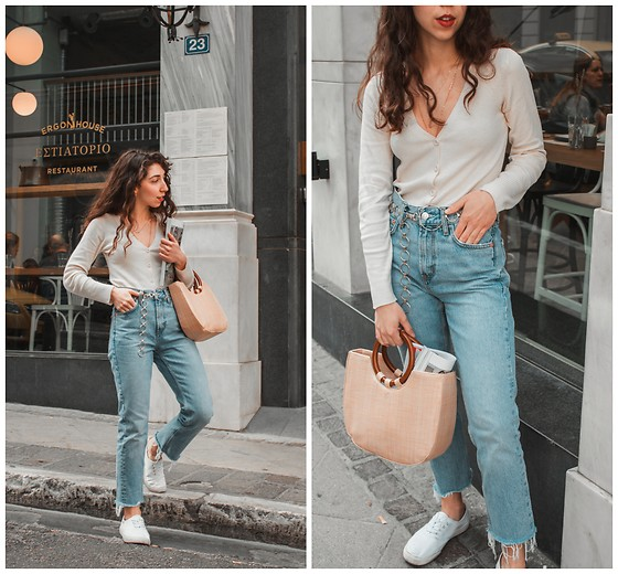 Theoni Argyropoulou - Stradivarius Cardigan, Mango Jeans, Zaful Straw Bag, Stradivarius Chain Belt, H&M Sneakers - Mastering the French Girl Style on sometihngvogue.com