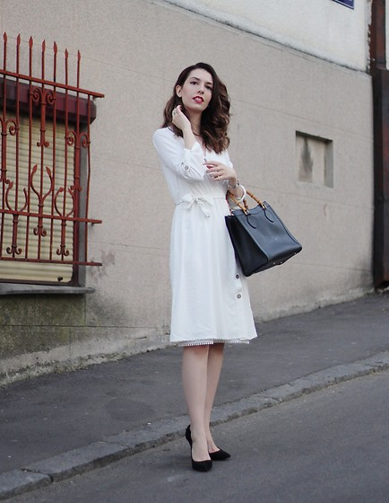 Jelena - Gucci Vintage Bag, Asos Pointy Heels - White retro dresses