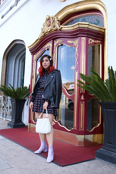 Yuka I. - Dress, Leather Jacket, Lavender Boots, Beaded Bag, Pearl Hair Clip - Pearly whites