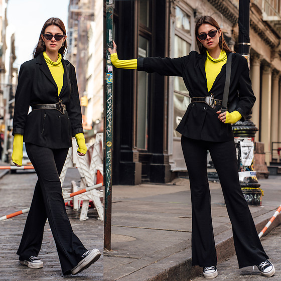 Jacky - Vintage Blazer, Noisy May Longsleeve, Loavies Pants, Vintage Belt, Converse Shoes, Chimi Eyewear Sunglasses - How to wear neon this spring