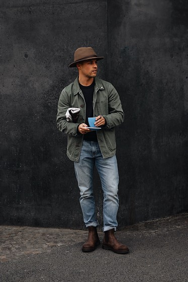 Kevin Elezaj - Dr. Martens Boots, Levi's® Jeans, Closed Jacket, A.P.C. Sweater, Brixton Hat - Newspaper