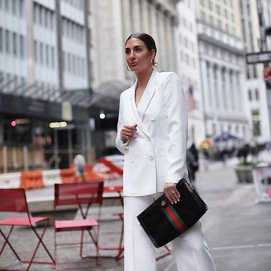 Alyssa Melendez - Seventy Suit Jacket, Gucci Suede Bag, Seventy Suit Pants - WHITE SUIT