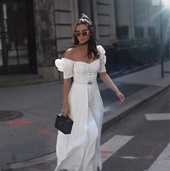 Alyssa Melendez - Eggie White Top With Train, Seventy Trousers - Street style bridal look