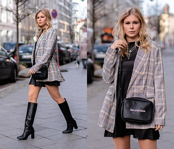 Sunnyinga - Loavies Blazer, Asos Leather Dress, Mint&Berry Boots, Balenciaga Bag - Leather Dress w/ Blazer & Heels