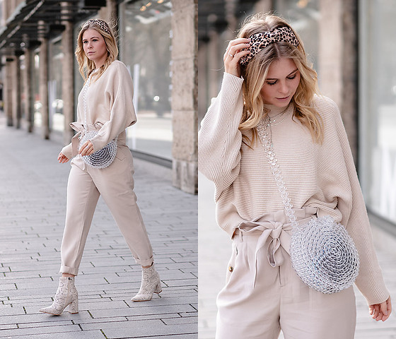 Sunnyinga - H&M Headband, H&M Pullover, H&M Pants, Public Desire Boots, &Otherstories Bag - All over beige Outfit