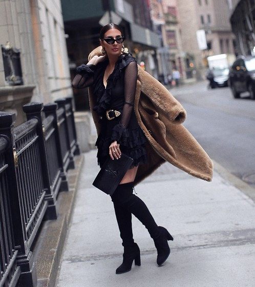 Alyssa Melendez - B Low The Belt, Hot As Hell Dress, Maxmara Coat, Saint Laurent Clutch, Stuart Weitzman Boots - LBD style