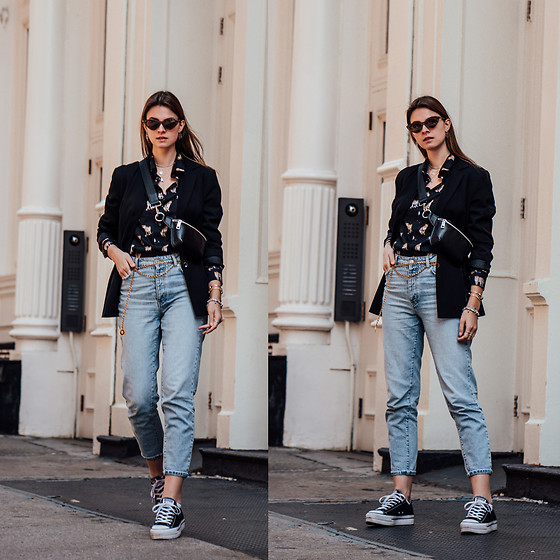 Jacky - Vintage Blazer, Minimum Shirt, Gina Tricot Jeans, Converse Shoes, Deluxe Choker Belt, Bershka Belt Bag, Chimi Eyewear Sunglasses - Another kind of animal print you might want to wear in 2019