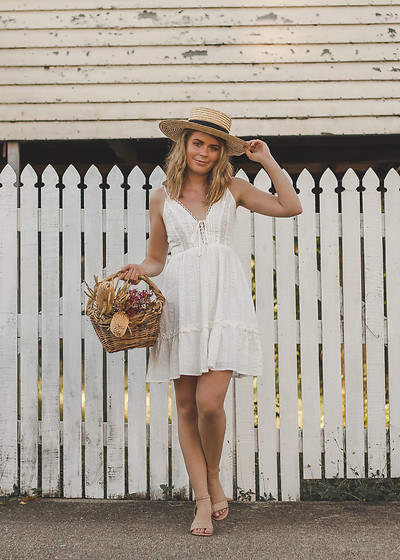 Kelly Anne - Dissh White Lace Sundress, H&M Boater Hat - Wildflowers