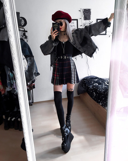 Kimi Peri - Uoobox Multi Plaid Skirt, Overknee Socks, Killstar Death Valley Platform Wedges, Morph8ne Ribbed Top, Vii & Co. Cropped Grey Denim Jacket, No Face Choker, Vii & Co. Red Beret, Vii & Co. Vintage Glasses, Uoobox Chain Buckle Belt - Multi Plaid